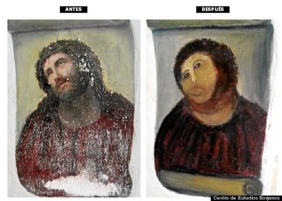 missglückte Restaurierung eines Jesus-Bildes