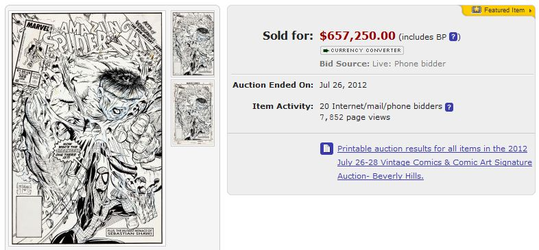 Rekordpreis für Spider-Man Comiczeichnung