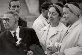 Jean-Paul Sartre und Simone de Beauvoir in Litauen. Fotografie