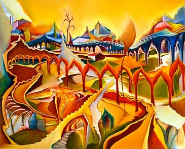 Labyrinth der Welt - Malerei von Christin Lutze