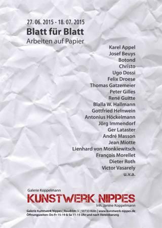 Blatt für Blatt – Ausgewählte Arbeiten auf und aus Papier Ausstellung Koeln