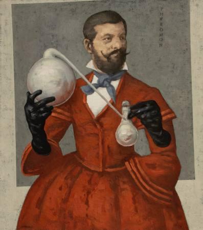Heiße Liebe, rot auf weiß. Ausstellung Wien