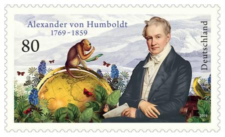 05.09., 12 Uhr: Alexander von Humboldt: Erstausgabe Sonderbriefmarke & Katalog-Launch Ausstellung Berlin