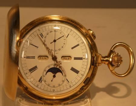 Schweizer Gold Repetition Tachenuhr mit Mondphase und Vollkalender u.v.a.