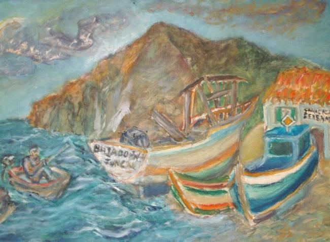 Jo Sickinger Hafen Canical Madeira 2004 … Öl auf Spanplatte 60