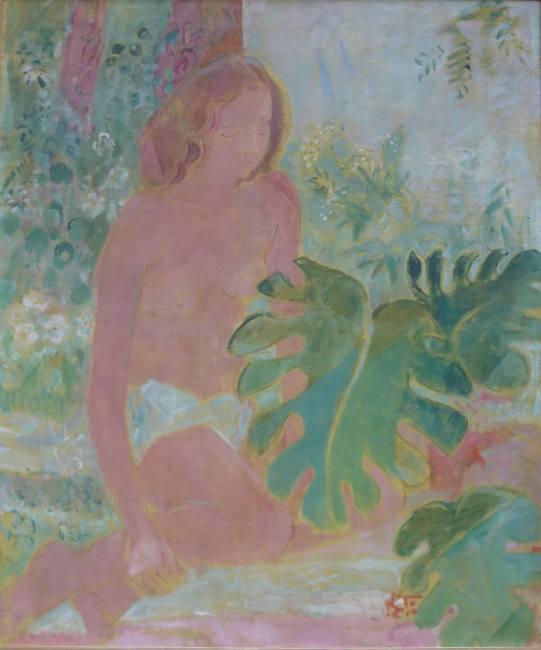 Oskar Moll Blonder Akt mit Philodendron