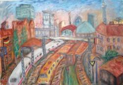 Gemälde Jo Sickinger Modersohn-Brücke BHF Berl ...