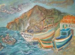 Jo Sickinger Hafen Canical Madeira 2004 … Öl auf Spanplatte 60  Malerei