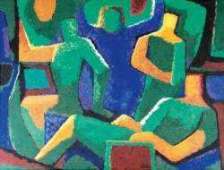 Gemälde Hellmuth Mueller-Leutert Blaue und Grüne Figuren I ...