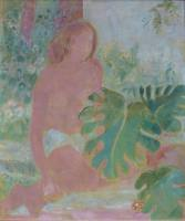 Oskar Moll Blonder Akt mit Philodendron Malerei