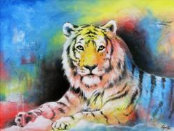 Gemälde Erich Graf Neon Tiger ...