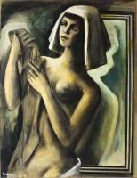 Horst Strempel Mädchenakt mit Kopftuch vor dem Spiegel, einen Nyl