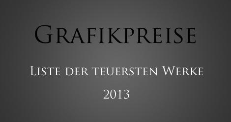 Grafikpreise - die 10 teuersten Druckgrafiken des Jahres 2013