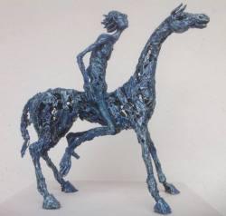 """Skulptur Ciro Chávez """"Der Reiter"""" (blau) ..."""